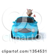 Clipart Of A 3d Young Black Devil Businessman Driving A Blue Convertible Car On A White Background Royalty Free Vector Illustration