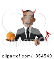 Clipart Of A 3d Young Black Devil Businessman Holding A Navel Orange Over A Sign On A White Background Royalty Free Vector Illustration