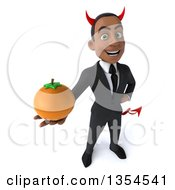 Clipart Of A 3d Young Black Devil Businessman Holding Up A Navel Orange On A White Background Royalty Free Vector Illustration