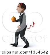 Clipart Of A 3d Young Black Devil Businessman Holding A Navel Orange And Walking On A White Background Royalty Free Vector Illustration
