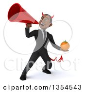 Clipart Of A 3d Young Black Devil Businessman Holding A Navel Orange And Using A Megaphone On A White Background Royalty Free Vector Illustration