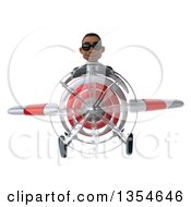 Clipart Of A 3d Young Black Businessman Aviator Pilot Wearing Sunglasses And Flying A White And Red Airplane On A White Background Royalty Free Vector Illustration