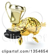 Clipart Of A 3d Gold Brain Character Holding A Trophy And Jumping On A White Background Royalty Free Vector Illustration
