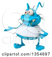 Clipart Of A 3d Presenting Blue Germ Virus Wearing A White T Shirt On A White Background Royalty Free Vector Illustration by Julos