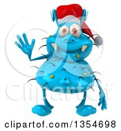 Clipart Of A 3d Blue Christmas Germ Wearing A Santa Hat And Waving On A White Background Royalty Free Vector Illustration by Julos