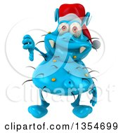 Clipart Of A 3d Blue Christmas Germ Wearing A Santa Hat And Giving A Thumb Down On A White Background Royalty Free Vector Illustration