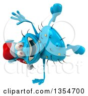 Clipart Of A 3d Blue Christmas Germ Wearing A Santa Hat And Cartwheeling On A White Background Royalty Free Vector Illustration