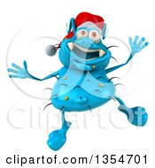 Clipart Of A 3d Blue Christmas Germ Wearing A Santa Hat And Jumping On A White Background Royalty Free Vector Illustration