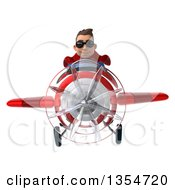Clipart Of A 3d Young Brunette White Male Super Hero Aviator Pilot In A Blue And Red Suit Wearing Sunglasses And Flying A Red Airplane On A White Background Royalty Free Illustration