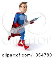 Clipart Of A 3d Young Brunette White Male Super Hero In A Blue And Red Suit Carrying A Giant Vaccine Syring On A White Background Royalty Free Illustration