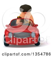 3d Caveman Driving A Red Convertible Car On A White Background