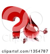 Clipart Of A 3d Hot Water Or Blood Drop Character Holding Up A Question Mark And Giving A Thumb Up On A White Background Royalty Free Vector Illustration