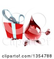 Clipart Of A 3d Hot Water Or Blood Drop Character Holding Up A Gift And A Thumb On A White Background Royalty Free Vector Illustration