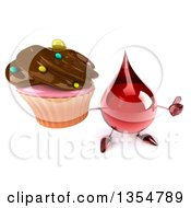 Clipart Of A 3d Hot Water Or Blood Drop Character Holding Up A Cupcake And A Thumb On A White Background Royalty Free Vector Illustration