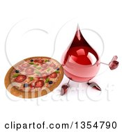 Clipart Of A 3d Hot Water Or Blood Drop Character Holding Up A Thumb And A Pizza On A White Background Royalty Free Vector Illustration