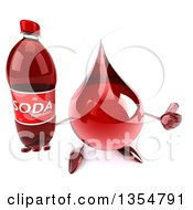 Clipart Of A 3d Hot Water Or Blood Drop Character Holding Up A Thumb And A Soda Bottle On A White Background Royalty Free Vector Illustration