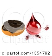 Clipart Of A 3d Hot Water Or Blood Drop Character Holding Up A Thumb And A Chocolate Glazed Donut On A White Background Royalty Free Vector Illustration