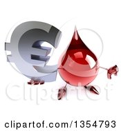 Clipart Of A 3d Hot Water Or Blood Drop Character Holding Up A Euro Currency Symbol And Thumb Down On A White Background Royalty Free Vector Illustration