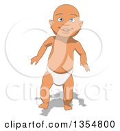 Clipart Of A Cartoon White Baby Boy Walking Royalty Free Vector Illustration