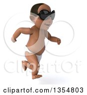 Clipart Of A 3d Black Baby Boy Wearing Sunglasses And Running On A White Background Royalty Free Vector Illustration