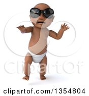 Clipart Of A 3d Black Baby Boy Wearing Sunglasses And Walking On A White Background Royalty Free Vector Illustration