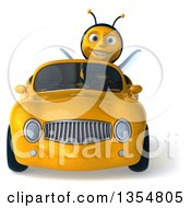 Clipart Of A 3d Male Bee Driving A Yellow Convertible Car On A White Background Royalty Free Vector Illustration