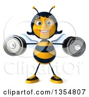 Clipart Of A 3d Happy Female Bee Working Out Doing Lateral Raises With Dumbbells On A White Background Royalty Free Vector Illustration by Julos