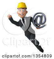 Clipart Of A 3d Young White Male Architect Flying With An Email Arobase At Symbol On A White Background Royalty Free Vector Illustration