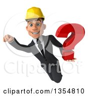 Clipart Of A 3d Young White Male Architect Flying With A Question Mark On A White Background Royalty Free Vector Illustration