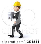 Clipart Of A 3d Young White Male Architect Walking With A Tooth On A White Background Royalty Free Vector Illustration