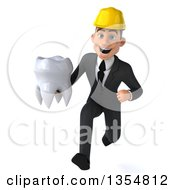Clipart Of A 3d Young White Male Architect Running With A Tooth On A White Background Royalty Free Vector Illustration