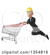 Clipart Of A 3d Young White Male Architect Flying With A Shopping Cart On A White Background Royalty Free Vector Illustration