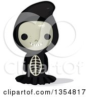 Clipart Of A Kid In A Skeleton Halloween Costume Royalty Free Vector Illustration by Melisende Vector