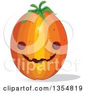 Clipart Of A Tall Halloween Jackolantern Pumpkin Royalty Free Vector Illustration by Melisende Vector