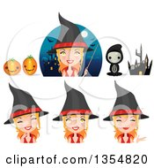 Clipart Of A Happy Red Haired Witch Woman Wearing A Red Banded Hat Royalty Free Vector Illustration