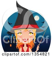 Red Haired Witch Woman Holding A Wand Over A Circle With A Haunted Castle Full Moon And Bats