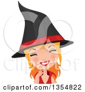 Clipart Of A Happy Red Haired Witch Woman Smiling Royalty Free Vector Illustration by Melisende Vector