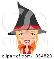 Clipart Of A Red Haired Witch Woman Smiling Royalty Free Vector Illustration