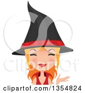 Clipart Of A Happy Red Haired Witch Woman Presenting Royalty Free Vector Illustration by Melisende Vector
