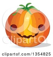 Clipart Of A Round Halloween Jackolantern Pumpkin Royalty Free Vector Illustration