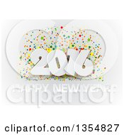 Clipart Of A White 3d Happy New Year 2016 Greeting And Colorful Confetti On Gray Royalty Free Vector Illustration