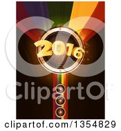 3d Gold New Year 2016 Bursting From A Music Speaker Over A Rainbow With Flares On Black