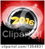 Silhouetted Crowd Of Hands Over A 3d Music Speaker And New Year 2016 Over Red
