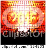 Silhouetted Crowd Of Hands Over A 3d Disco Ball And New Year 2016