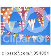 Clipart Of A Background Of British Themed Bunting Banner Flags Over Blue Sky Royalty Free Vector Illustration by elaineitalia