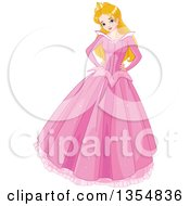 Clipart Of A Happy Caucasian Princess Sleeping Beauty Posing In A Long Pink Dress With Both Hands On Her Hips Royalty Free Vector Illustration by Pushkin