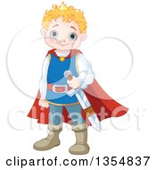 Clipart Of A Cute Blue Eyed Caucasian Prince With A Sword Royalty Free Vector Illustration