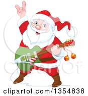 Clipart Of A Christmas Santa Claus Playing A Guitar Royalty Free Vector Illustration by Pushkin