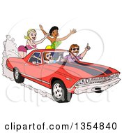 Clipart Of A Cartoon Man Driving Around Sexy Women In A Red 1969 Cheverolet El Camino Muscle Car Coupe Utility Pickup Royalty Free Vector Illustration