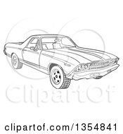 Outline Clipart Of A Cartoon Black And White 1969 Cheverolet El Camino Muscle Car Coupe Utility Pickup Royalty Free Lineart Vector Illustration by LaffToon